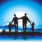 Happy family walks on nature, sunset — Stock Vector #3477210