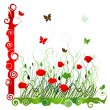 Background with green grass ang red poppie isolated on white — Stock Vector