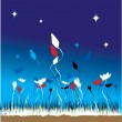 Grass and flowers on a background of the sky — Stock Vector