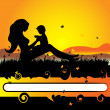 Mother with baby on the nature, black silhouette - Stock Vector