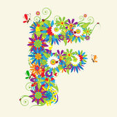 Letter F, floral design. See also letters in my gallery — Stockvektor