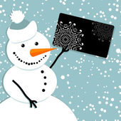 Happy snowman with credit card, christmas shopping — Stock Vector