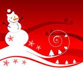 Happy snowman, christmas card — Stock Vector