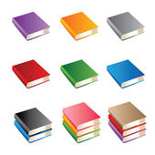 Set of books of various color — Vector de stock