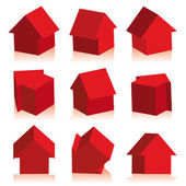 Collection of houses red, icon — Stock Vector