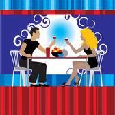 Par bebe vino en el restaurante — Vector de stock