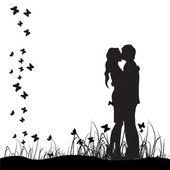 En草原、黒いシルエットのカップルをキスします。 — 图库矢量图片