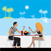 Couple in cafe on a beach — Cтоковый вектор