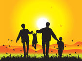 Happy family walks on nature, sunset — Stock Vector