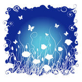 Grass and flowers on a background of the night sky — Stock Vector
