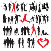 Silhouettes of : business, family, sport, love — ストックベクタ