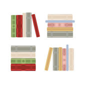 Set of books on a book shelf rastered — Stock Vector