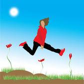 The woman runs on a flower meadow — Stock Vector