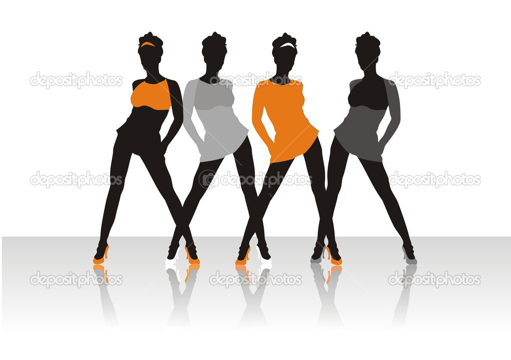 Beautiful girls of model pose on a podium  Stock Vector #3477059