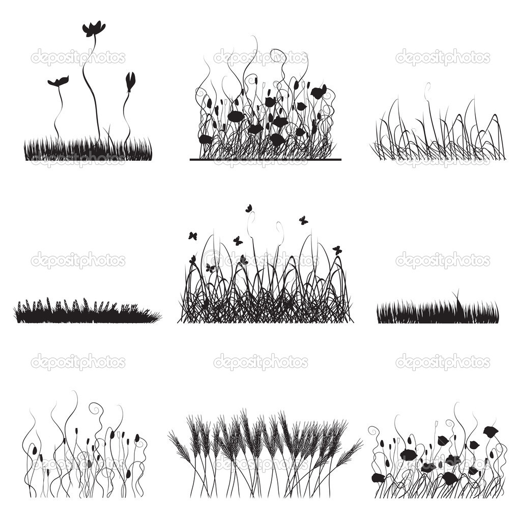 Silhouettes of grass, flowers and butterflies — Stock Vector #3477241