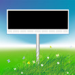 Billboard on green field background, place for your text — Stock Vector #3606373