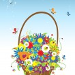 Stock Vector: Basket with flowers for your design