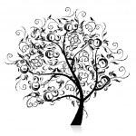 arte árbol hermoso, silueta negra — Vector de stock