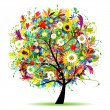 Floral tree beautiful, summer — Stock Vector