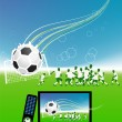 Football match  on tv sports channel - Stock Vector