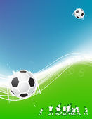 Football background for your design. Players on field, soccer ball — Stok Vektör