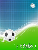 Football background for your design. Players on field, soccer ball — Stock vektor