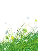 Zelené pole s motýly, letní pozadí — Stock vektor