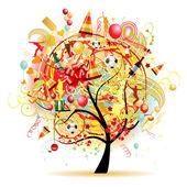 Happy celebration, funny tree with holiday symbols — Stock Vector