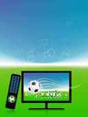 Football match on tv sports channel — Vector de stock
