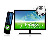 Football match on tv sports channel — Stock Vector