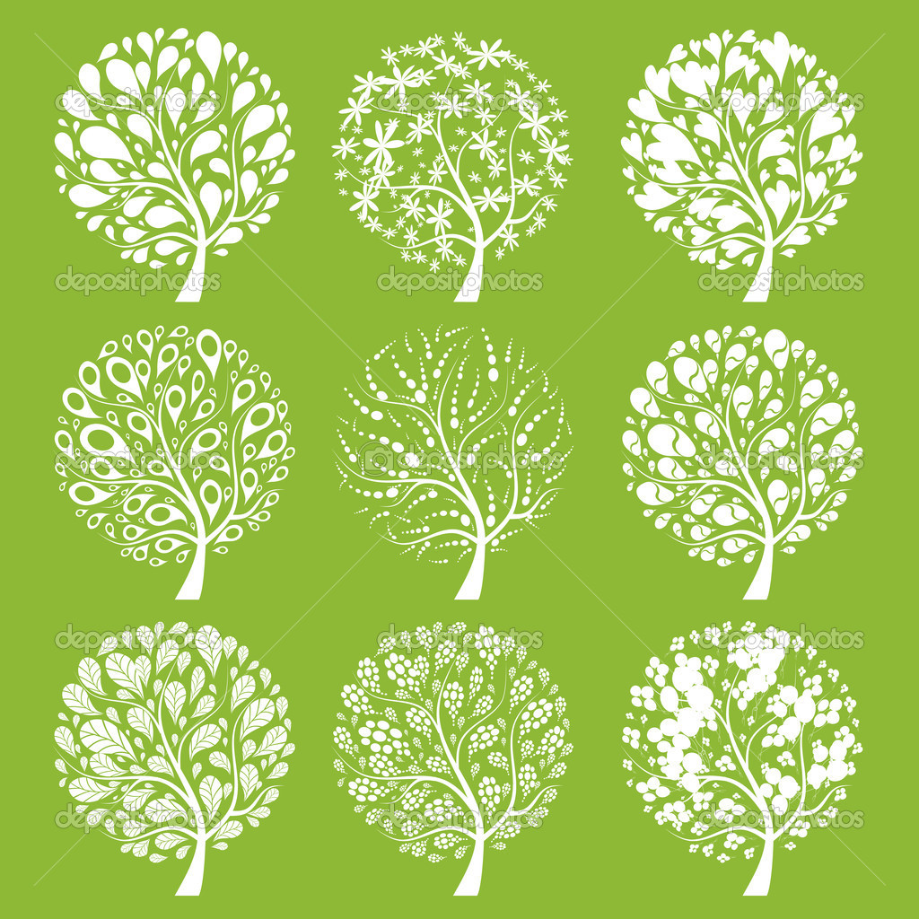 Art trees collection for your design — Stock Vector #3606449