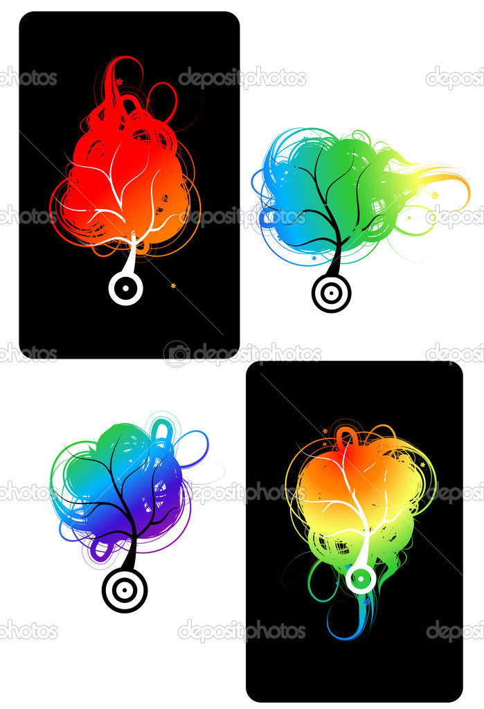 Art trees colorful for your design — Stock Vector #3606512