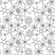 Black on white seamless floral pattern — Stock Vector