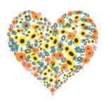 Floral heart shape design — Stock Vector