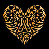 Heart shape golden on black for your design — Stock Vector