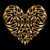 форма сердца, золотые на черном фоне для вашего дизайна — Cтоковый вектор