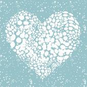 Me gusta el invierno! nevando en forma de corazón para su diseño — Vector de stock