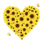 Heart shape with sunflowers for your design — Stock Vector