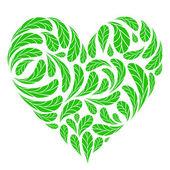 Feuilles vertes en forme de cœur pour votre conception — Vecteur