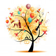 Happy celebration, funny tree with holiday symbols — Imagen vectorial