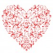 Heart shape, floral ornament for your design — Stock Vector