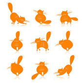 Funny orange fat cats silhouettes for your design — Stock Vector