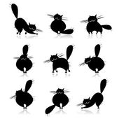 Funny black fat cats silhouettes for your design — Stock Vector