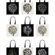 Shopping bag collection, art tree design - Stock Vector