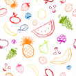 Fruits and berries sketch, seamless background for your design - Image vectorielle