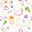 Fruits and berries sketch, seamless background for your design - Stock Vector