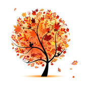 Hermoso árbol de otoño para su diseño — Vector de stock
