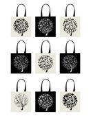сумка коллекции, искусство дерево дизайн — Cтоковый вектор