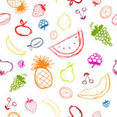 Fruits and berries sketch, seamless background for your design — Stock Vector
