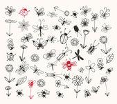 Colección de insectos bosquejo para su diseño — Vector de stock